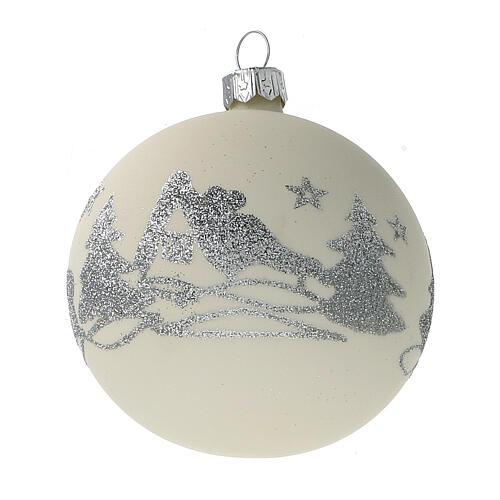 Bolas árvore de Natal vidro soprado branco branco e glitter prata 80 mm 24 unidades 3