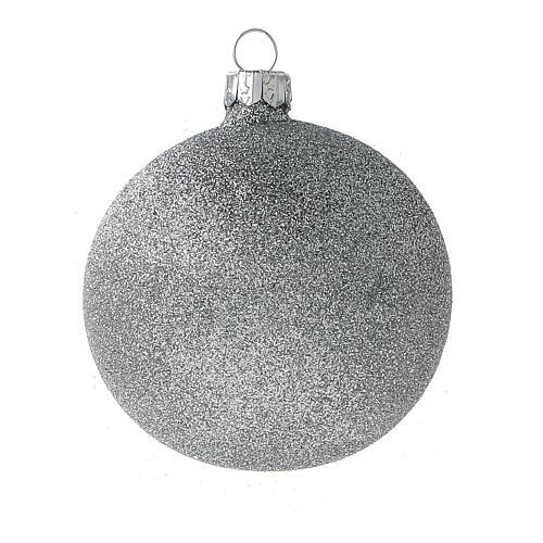 Bolas árvore de Natal vidro soprado branco branco e glitter prata 80 mm 24 unidades 4