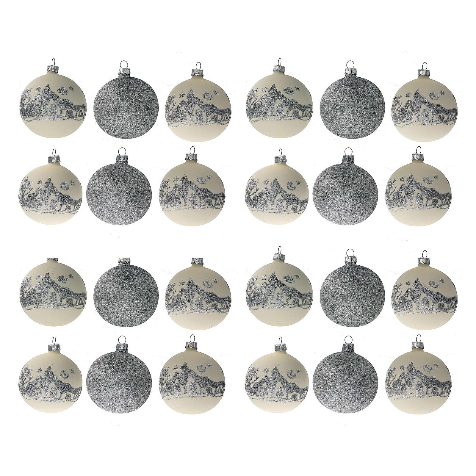 Glass Christmas ornaments silver glitter 24 pcs 80 mm 4