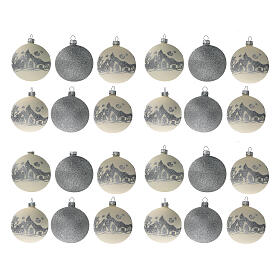 Glass Christmas ornaments silver glitter 24 pcs 80 mm s1