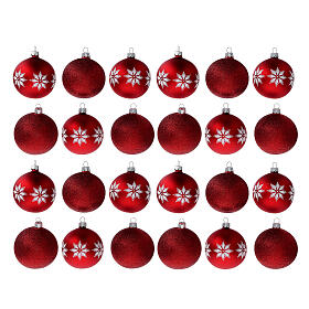 Christmas tree ornaments red with stars blown glass 80 mm 24 pcs s1
