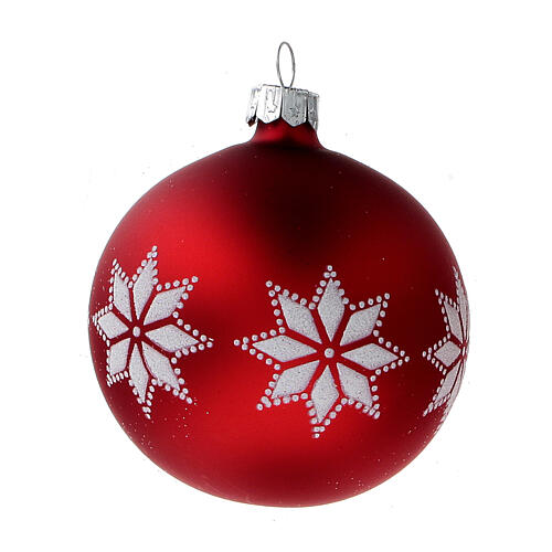 Christmas tree ornaments red with stars blown glass 80 mm 24 pcs 2