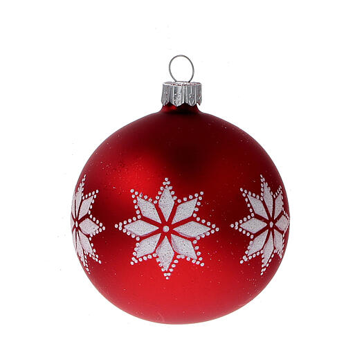 Christmas tree ornaments red with stars blown glass 80 mm 24 pcs 3
