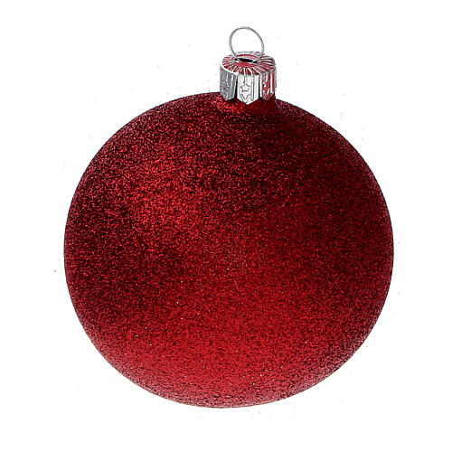 Christmas tree ornaments red with stars blown glass 80 mm 24 pcs 4