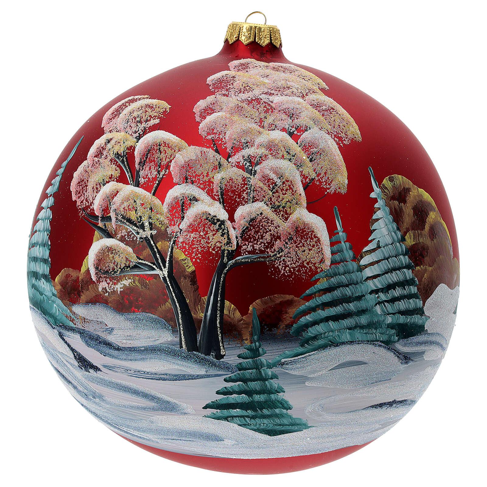 Bola árvore de Natal vidro soprado vermelho casa entre árvores 200 mm 4
