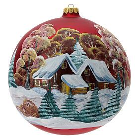 Bola árvore de Natal vidro soprado vermelho casa entre árvores 200 mm s1