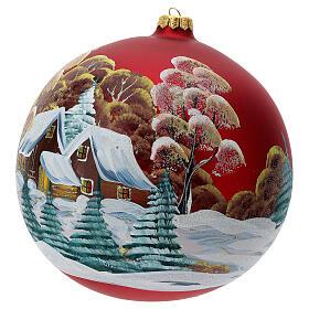 Bola árvore de Natal vidro soprado vermelho casa entre árvores 200 mm s2