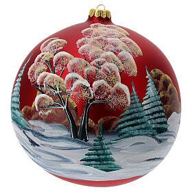 Bola árvore de Natal vidro soprado vermelho casa entre árvores 200 mm s4