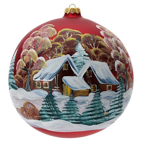 Bola árvore de Natal vidro soprado vermelho casa entre árvores 200 mm 1