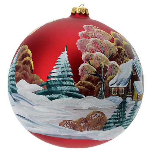 Bola árvore de Natal vidro soprado vermelho casa entre árvores 200 mm 3