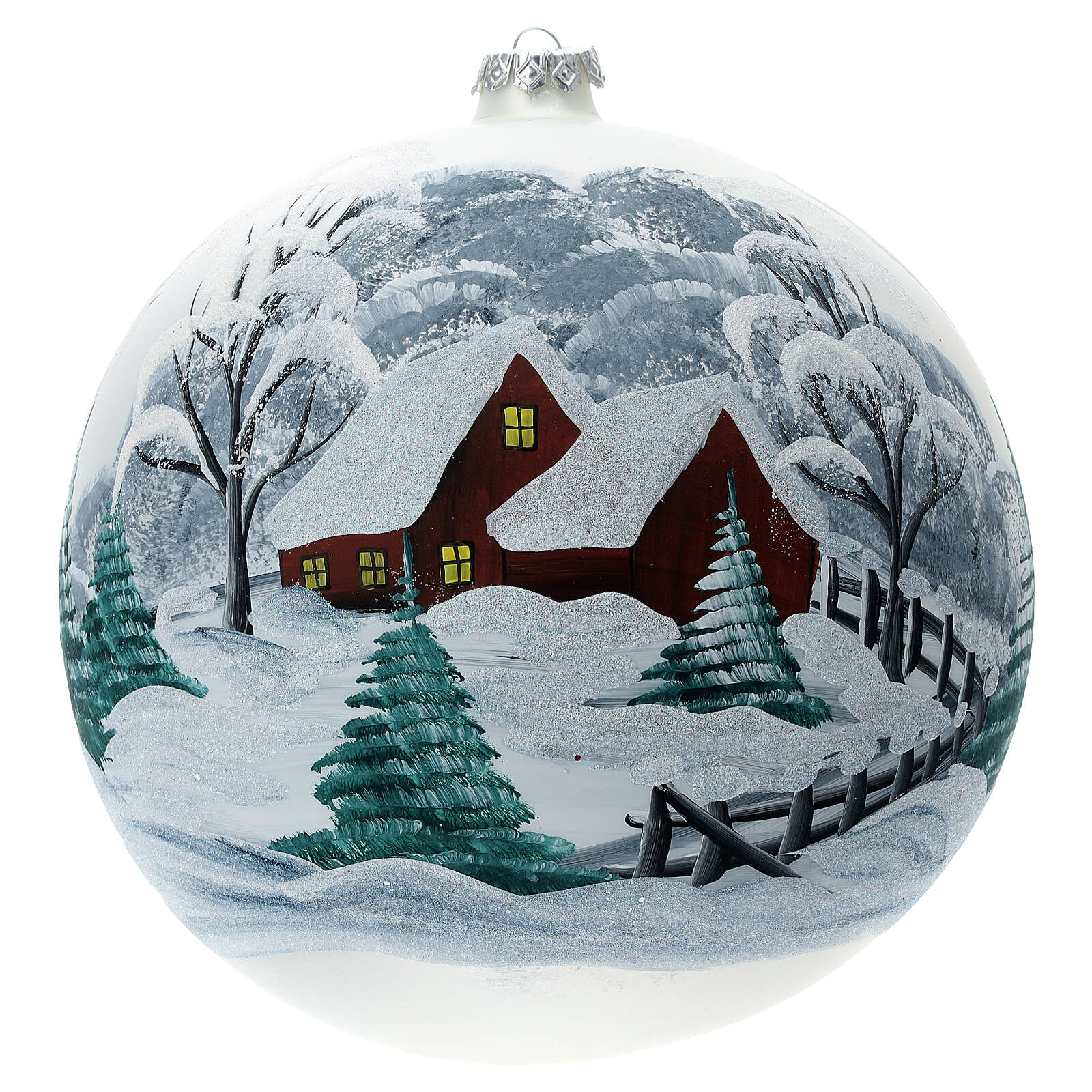 Christmas ball snow-covered landscape fence blown glass 200 mm 4