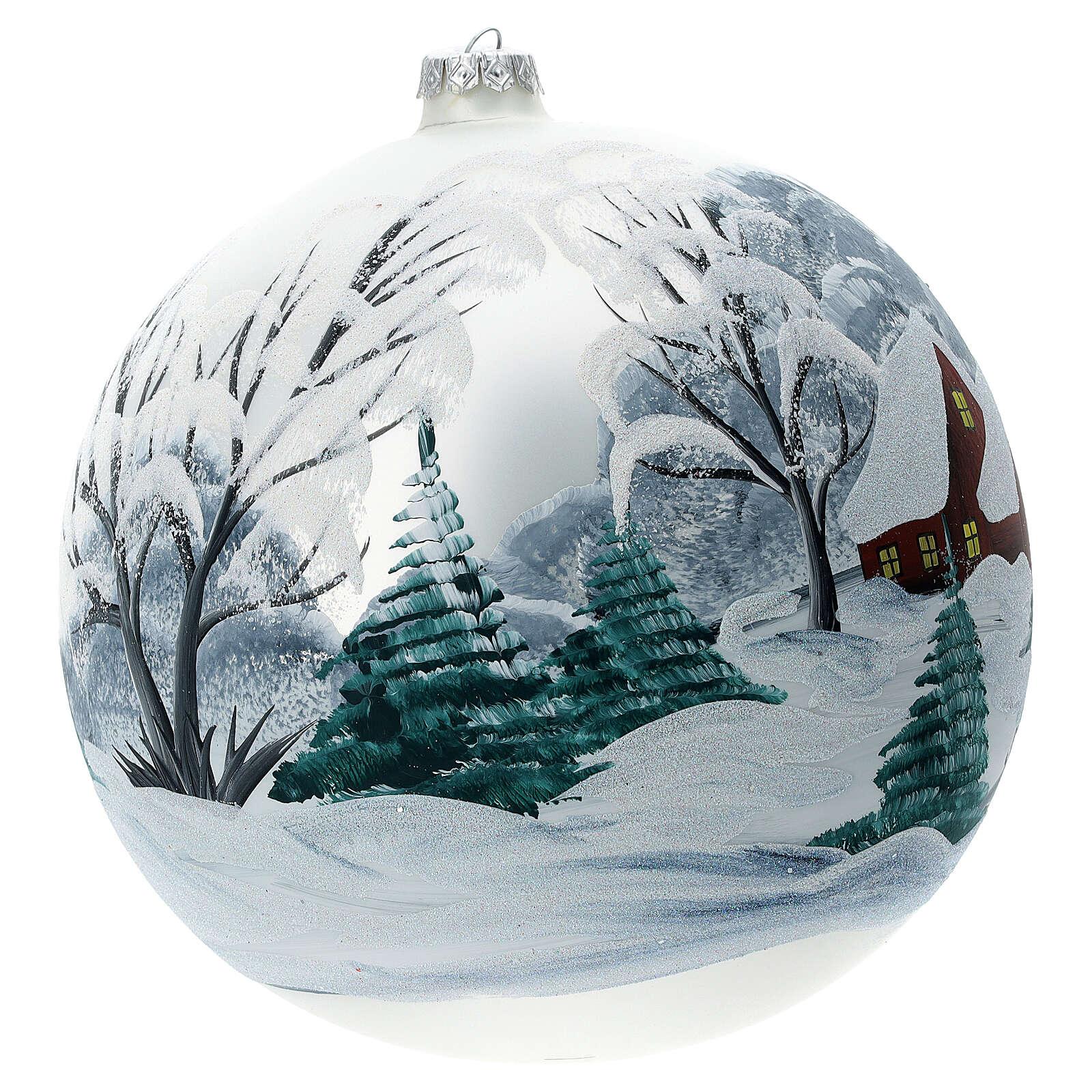Boule Noël paysage enneigé clôture verre soufflé 200 mm 4