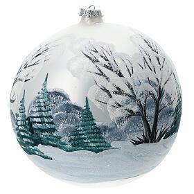 Boule Noël paysage enneigé clôture verre soufflé 200 mm s4