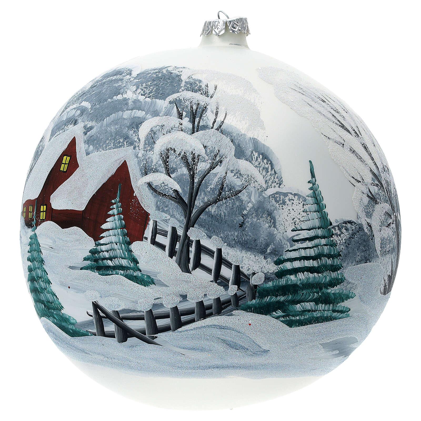 Pallina Natale paesaggio innevato staccionata vetro soffiato 200 mm 4