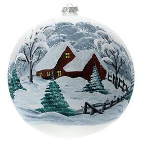 Pallina Natale paesaggio innevato staccionata vetro soffiato 200 mm s1