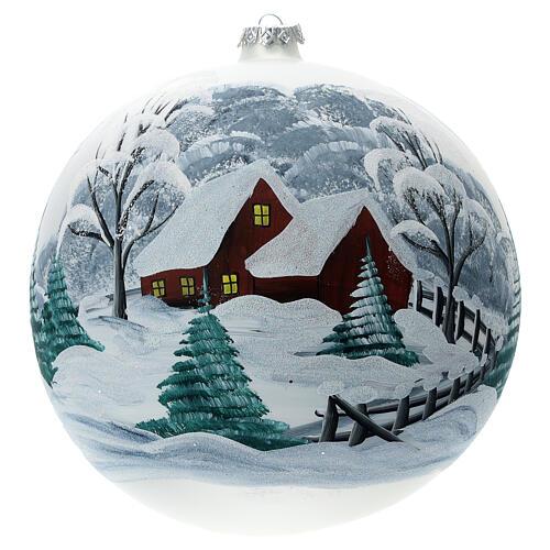 Pallina Natale paesaggio innevato staccionata vetro soffiato 200 mm 1