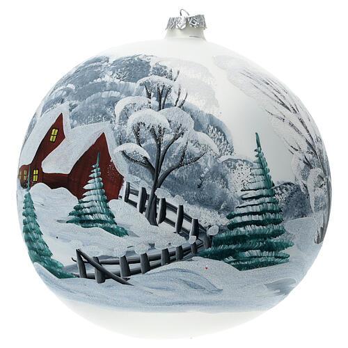 Pallina Natale paesaggio innevato staccionata vetro soffiato 200 mm 2