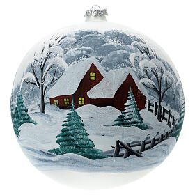 Glass Christmas tree ornament snowy landscape fence 200 mm s1