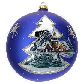 Pallina Natale villaggio albero dorato vetro soffiato 200 mm s1