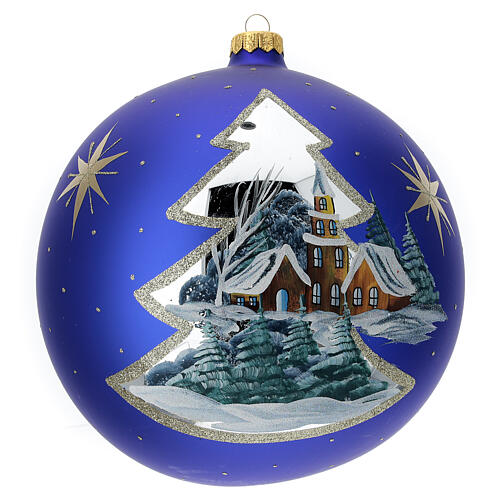 Pallina Natale villaggio albero dorato vetro soffiato 200 mm 1