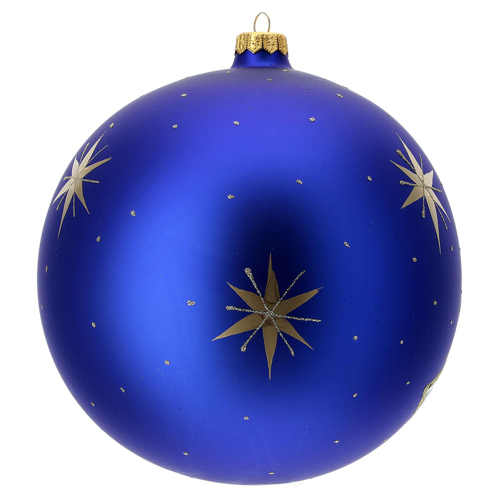 Bola árvore de Natal aldeia árvore dourada vidro soprado 200 mm 4