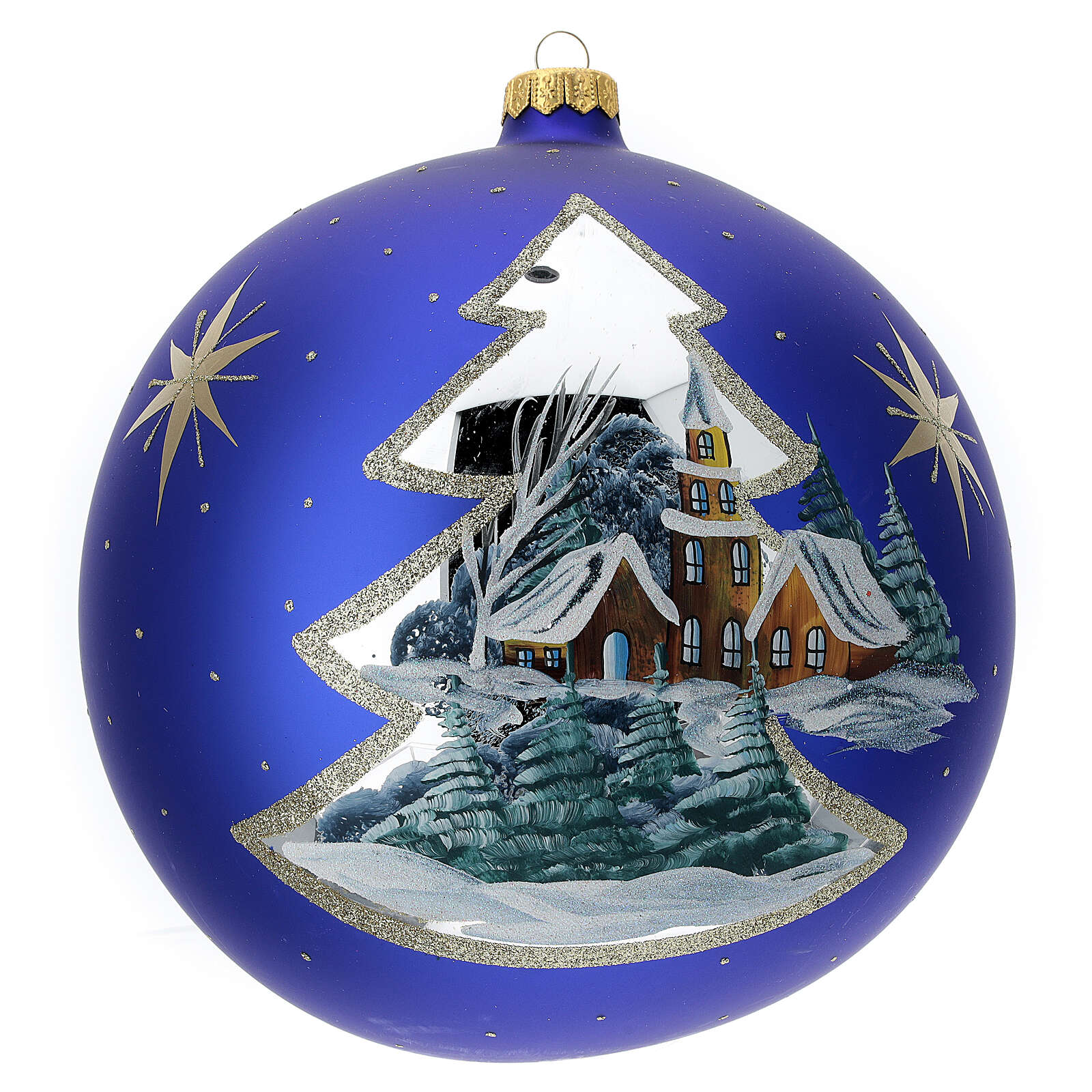 Christmas tree ornament gold winter village blown glass 200 mm 4