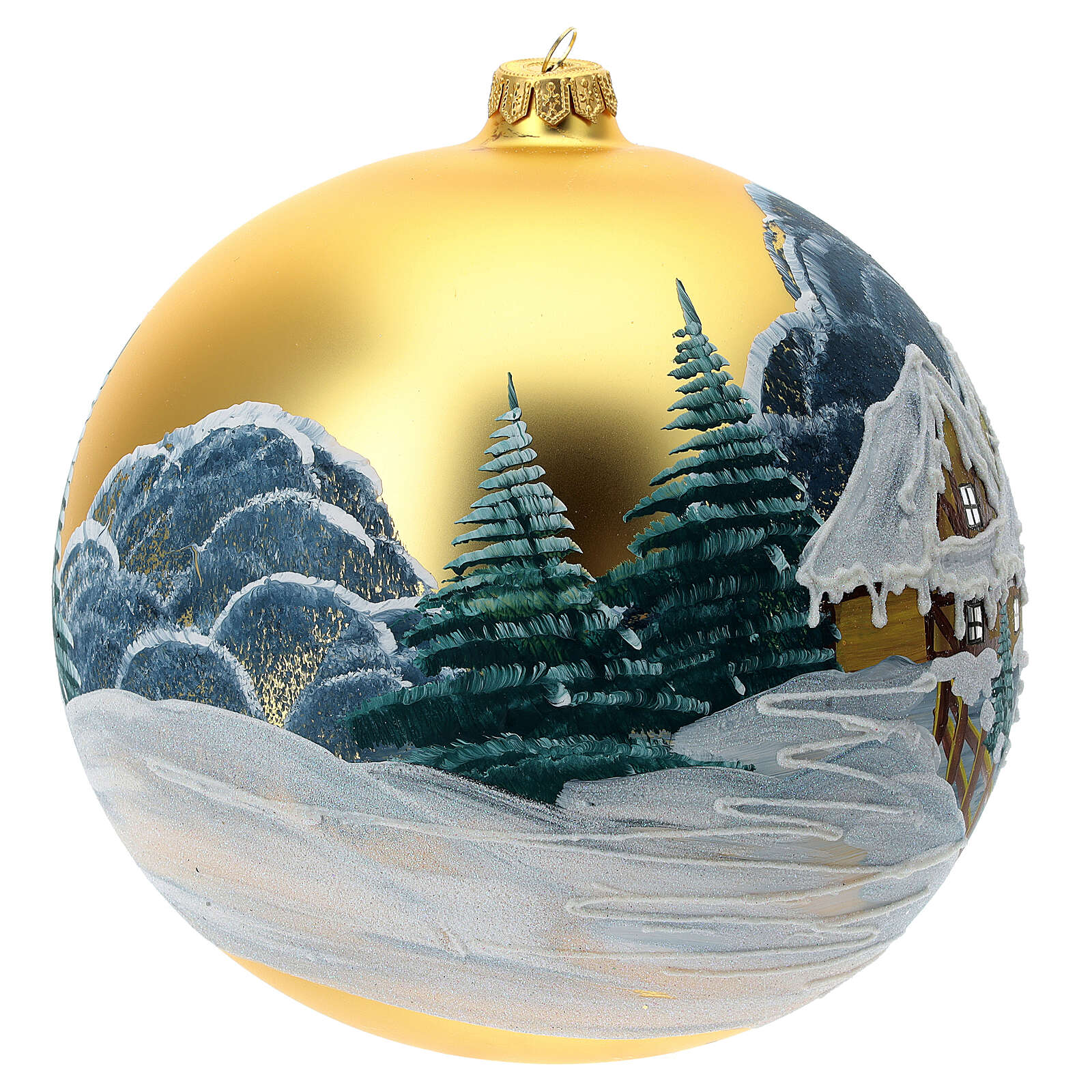Christmas tree decoration green blown glass snow-covered huts 200 mm 4