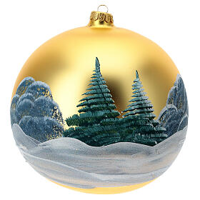 Christmas tree decoration green blown glass snow-covered huts 200 mm s4