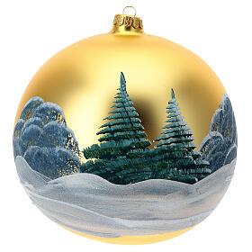 Décoration sapin Noël verre soufflé vert chalets enneigés 200 mm s4