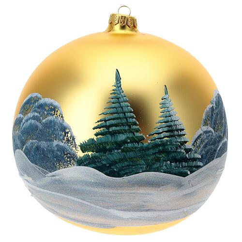 Décoration sapin Noël verre soufflé vert chalets enneigés 200 mm 4