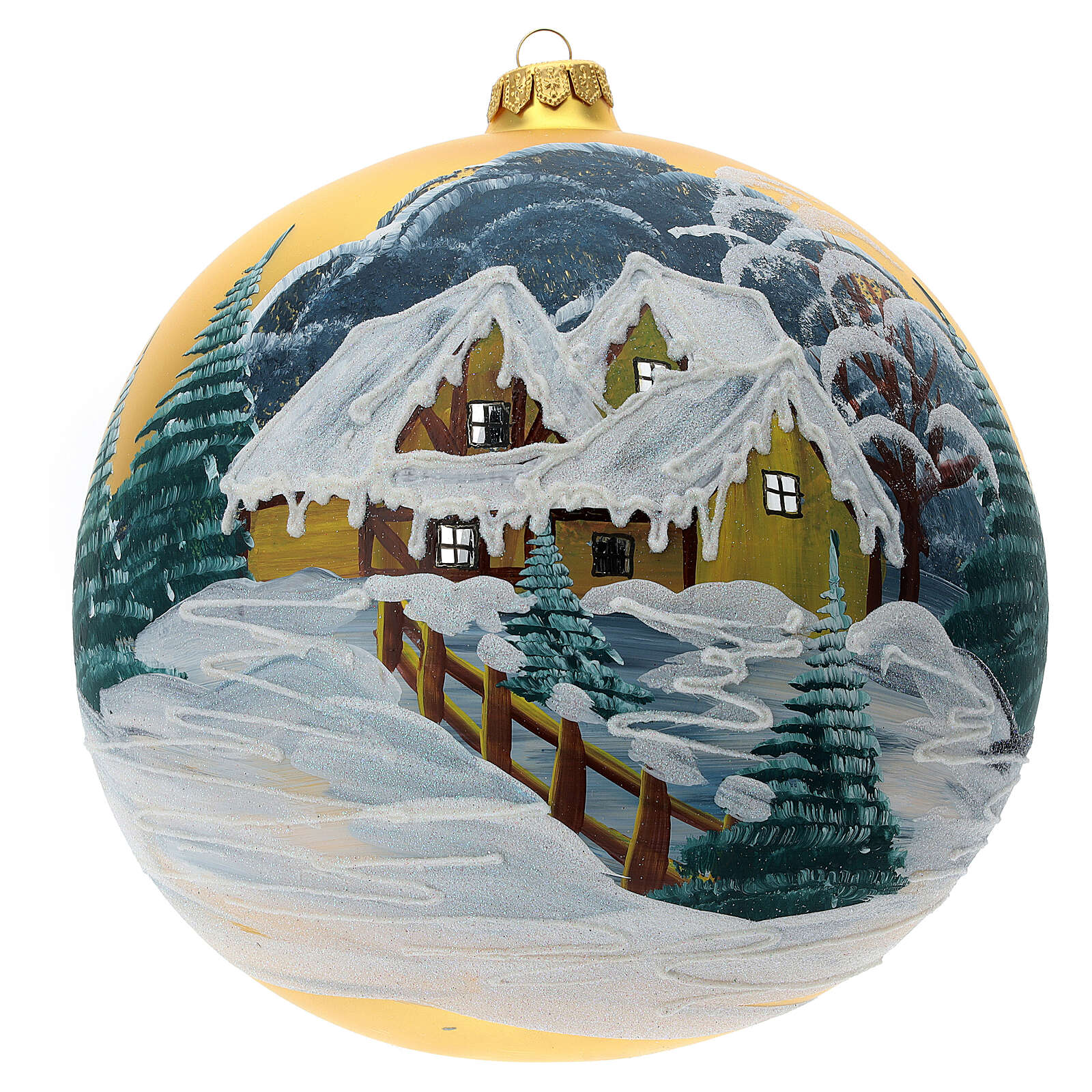 Christmas ball ornament blown glass snowy cottage 2000 mm 4