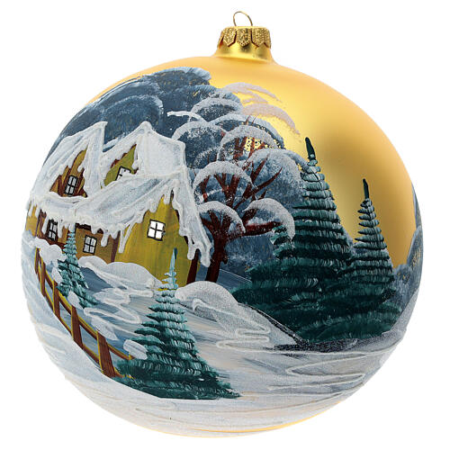 Christmas ball ornament blown glass snowy cottage 2000 mm 2