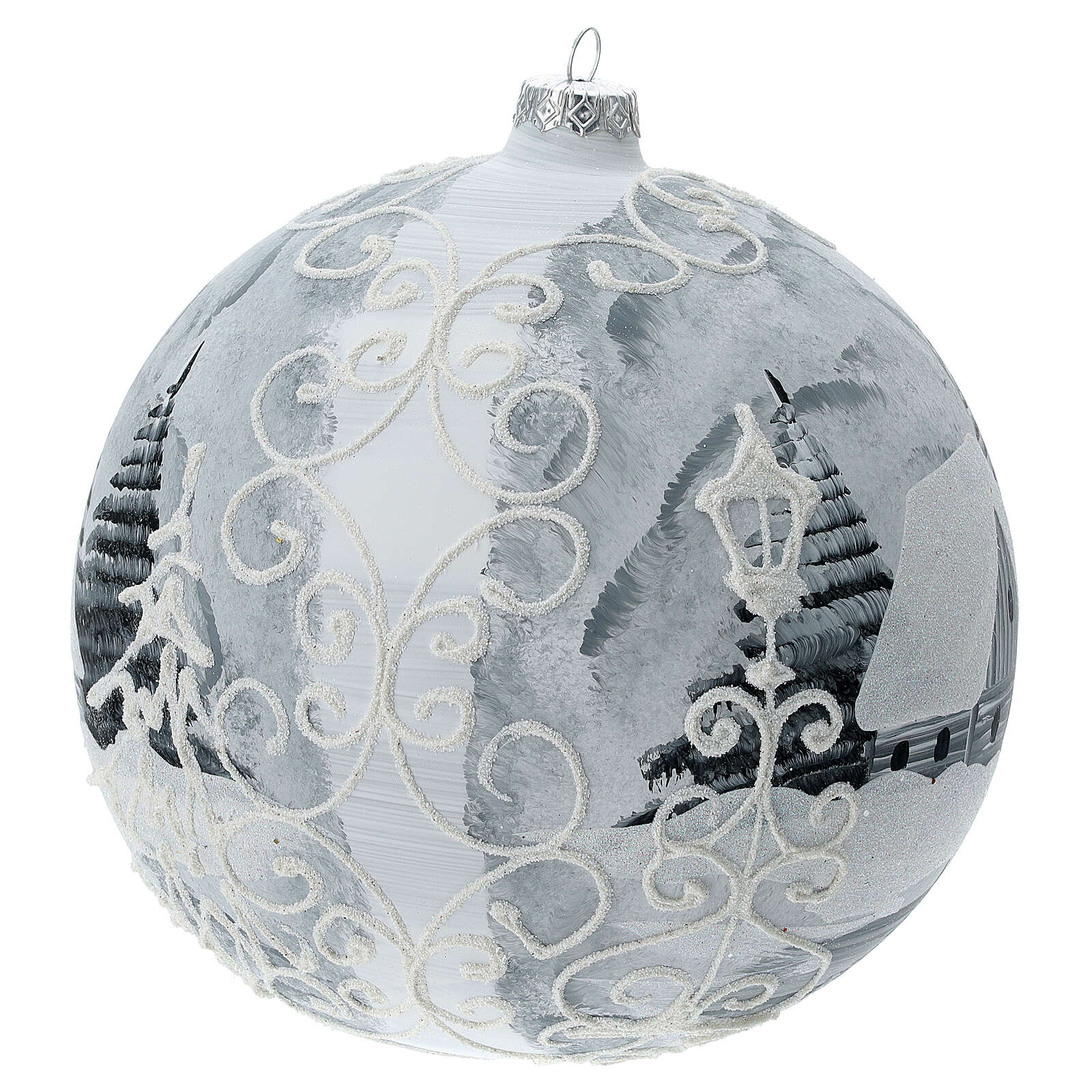 Pallina albero bianco argento lampione vetro soffiato 200 mm 4