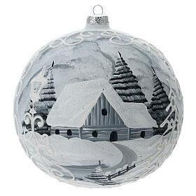 Pallina albero bianco argento lampione vetro soffiato 200 mm s1