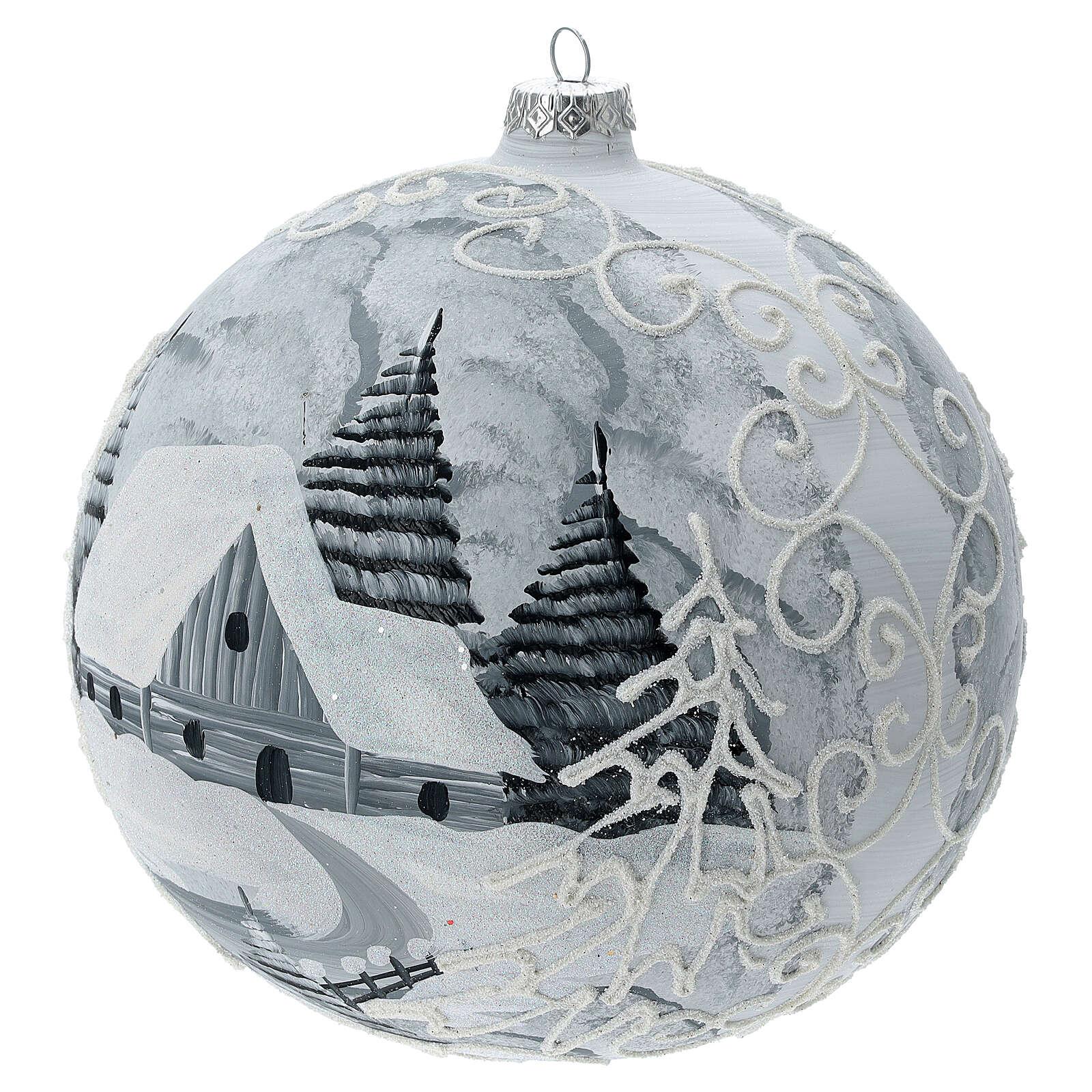 Bola árvore de Natal árvores nevadas, casa e lâmpada de rua vidro soprado 200 mm 4