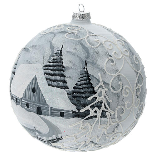 Bola árvore de Natal árvores nevadas, casa e lâmpada de rua vidro soprado 200 mm 2