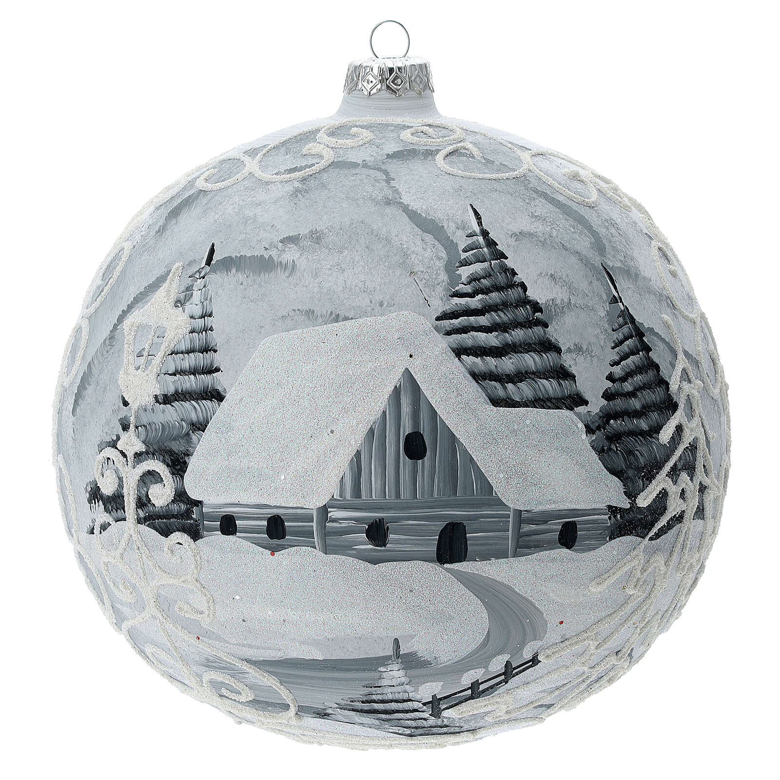 Glass Christmas ball white silver village streetlamp 200 mm 4