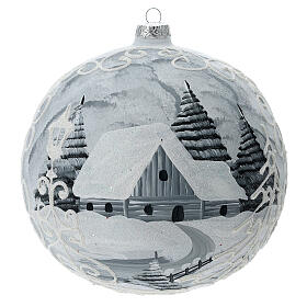 Glass Christmas ball white silver village streetlamp 200 mm s1