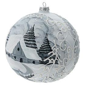 Glass Christmas ball white silver village streetlamp 200 mm s2