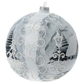 Glass Christmas ball white silver village streetlamp 200 mm s3