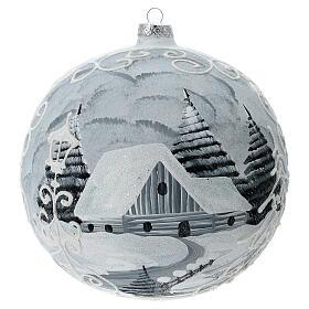 Glass Christmas ball white silver village streetlamp 200 mm s4