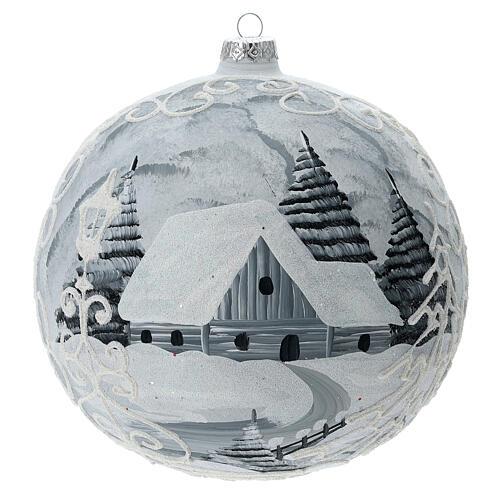 Glass Christmas ball white silver village streetlamp 200 mm 1