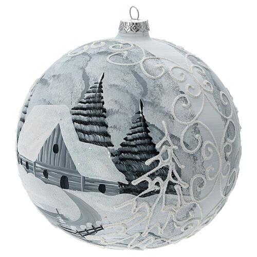 Glass Christmas ball white silver village streetlamp 200 mm 2