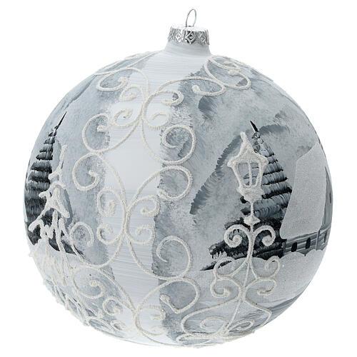 Glass Christmas ball white silver village streetlamp 200 mm 3