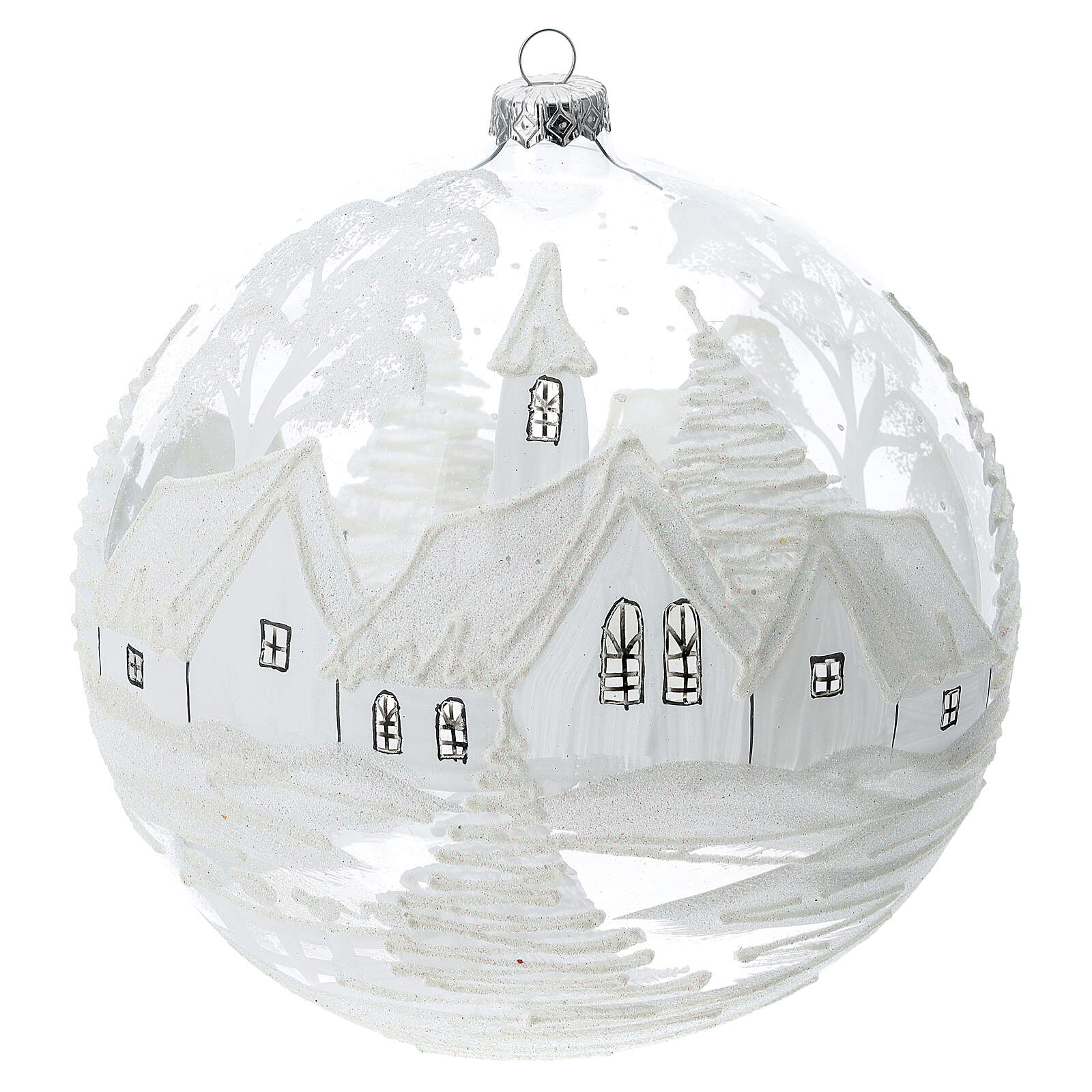 Christmas ball white snow landscape blown glass 200 mm 4
