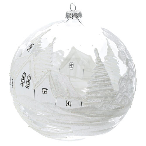 Christmas ball white snow landscape blown glass 200 mm 2