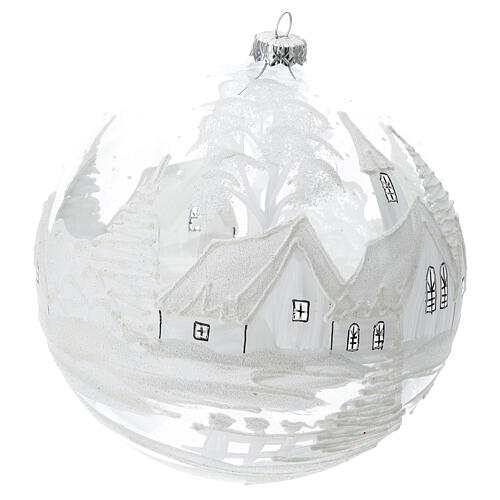 Christmas ball white snow landscape blown glass 200 mm 3