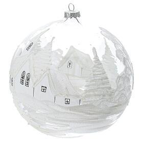 Boule Noël rouge paysage neige verre soufflé 200 mm s2