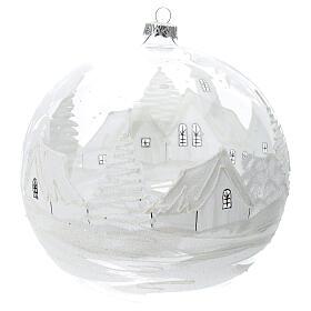 Boule Noël rouge paysage neige verre soufflé 200 mm s4