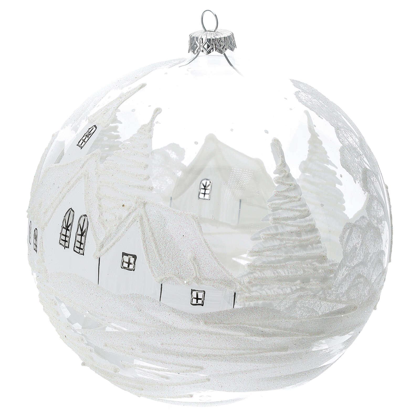 Pallina Natale bianca paesaggio neve vetro soffiato 200 mm 4